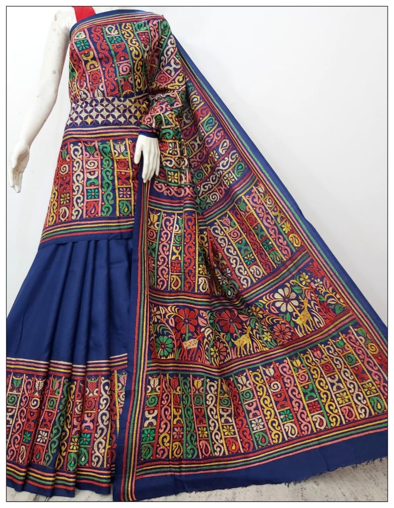 Royal Blue Hand Embroidery Kantha Stitch Saree on Pure Bangalore Silk(Add to Cart Get 15% Extra Discount)