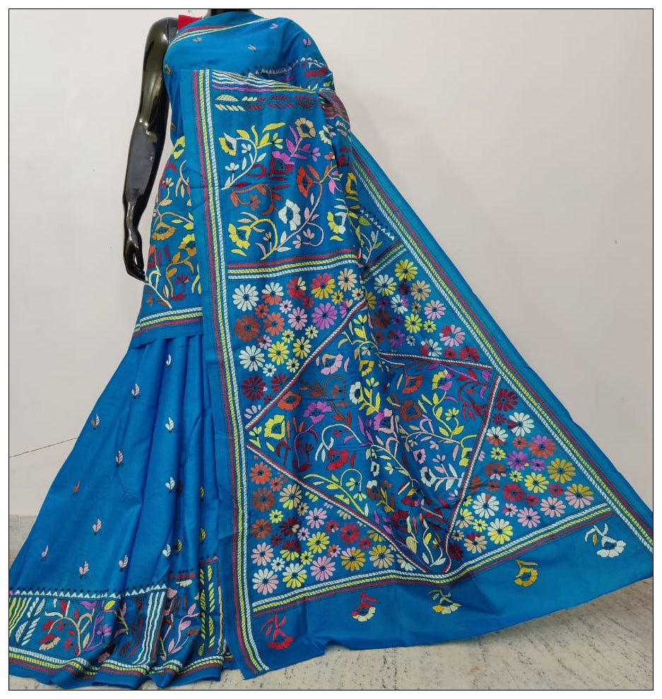 Sky Blue Hand Embroidery Kantha Stitch Saree on Pure Bangalore Silk(Add to Cart Get 15% Extra Discount)