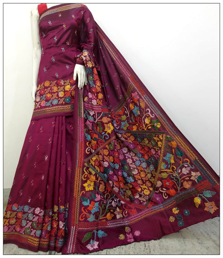 Magenta Hand Embroidery Kantha Stitch Saree on Pure Bangalore Silk(Add to Cart Get 15% Extra Discount)
