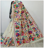 White Hand Embroidery Kantha Stitch Saree on Pure Bangalore Silk(Add to Cart Get 15% Extra Discount)