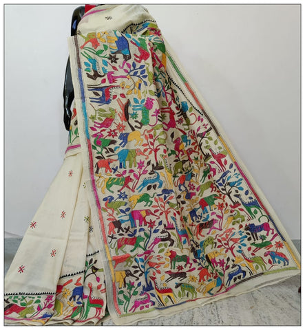 White & Multicolour Hand Embroidery Kantha Stitch Saree on Pure Bangalore Silk(Add to Cart Get 15% Extra Discount)