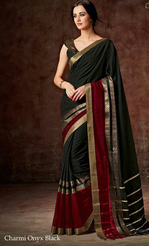 Black & Maroon Raw Silk Sarees