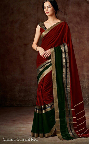 Red & Green Raw Silk Sarees