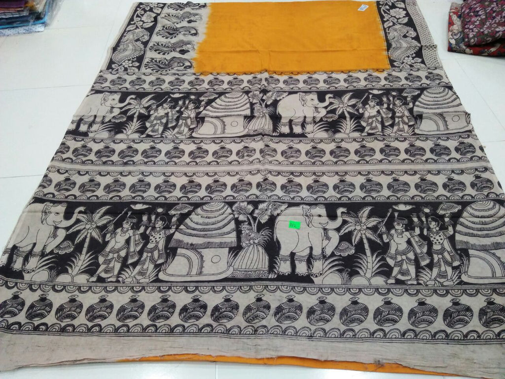 Black Orange Kalamkari Sarees