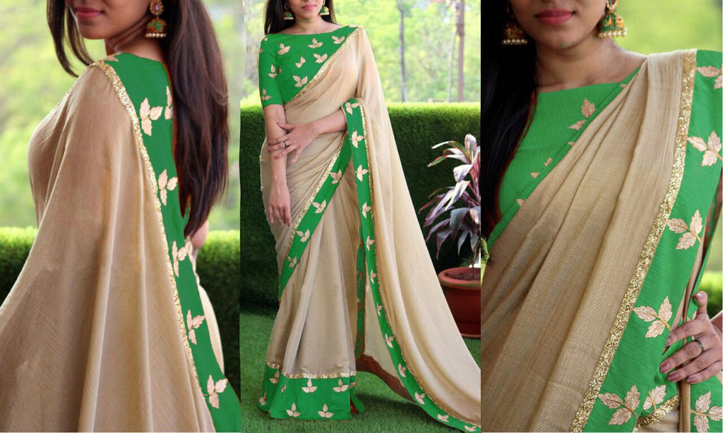 Green Chanderi Cotton Sarees