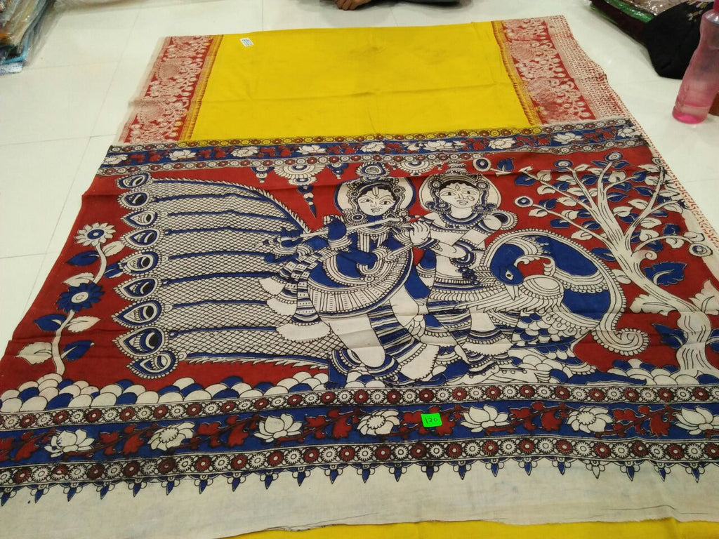 Yellow Red Kalamkari Sarees