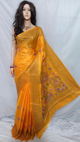 Yellow katha stitch Bhagalpuri Silk Sarees