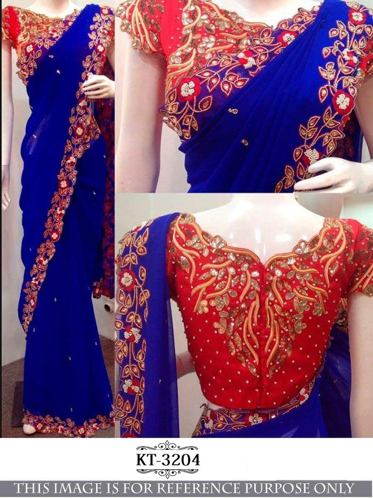 Blue & Red Georgette Silk Party Wear Sarees