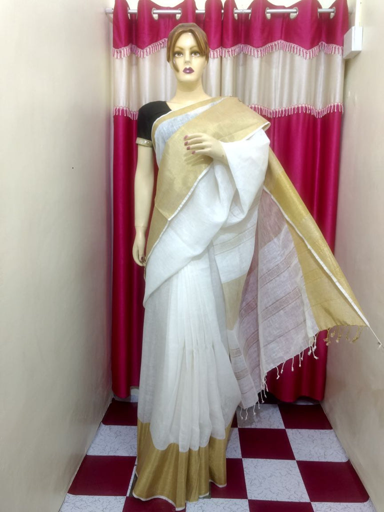 White Handloom Ghicha Sarees (Add to Cart Get 15% Extra Discount)