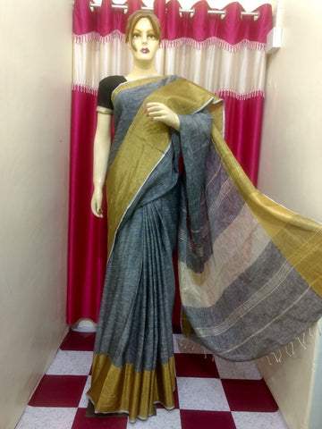 Grey Yellow Handloom Ghicha Sarees