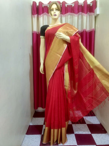 Red Golden Handloom Ghicha Sarees