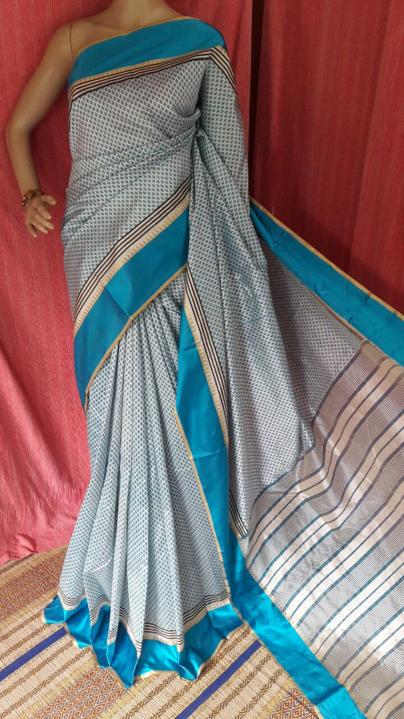 Grey Blue Garad Silk Sarees
