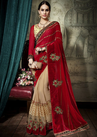 Marron Beige Designer Party Wear Sarees
