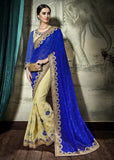 Blue Cream Designer Party Wear Sarees