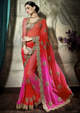 Orange Pink Designer Party Wear Sarees