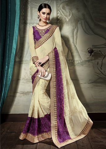 Beige Violet Designer Party Wear Sarees