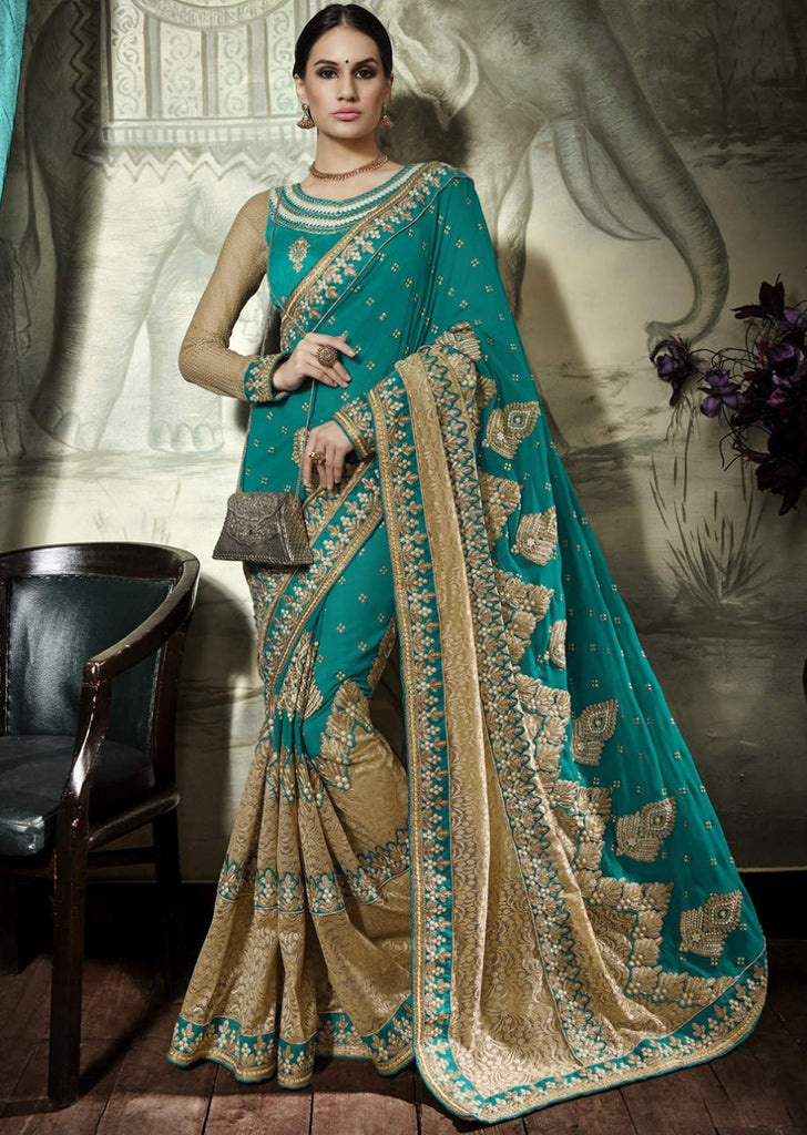 Green Golden Designer Party Wear Sarees