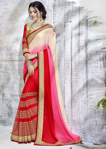 Pink Cream Designer Party Wear Sarees