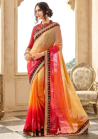 Orange Cream Designer Party Wear Sarees