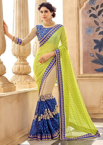 Blue Green Designer Party Wear Sarees