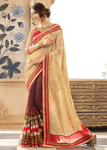 Beige Marron Designer Party Wear Sarees