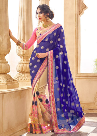 Beige Blue Designer Party Wear Sarees