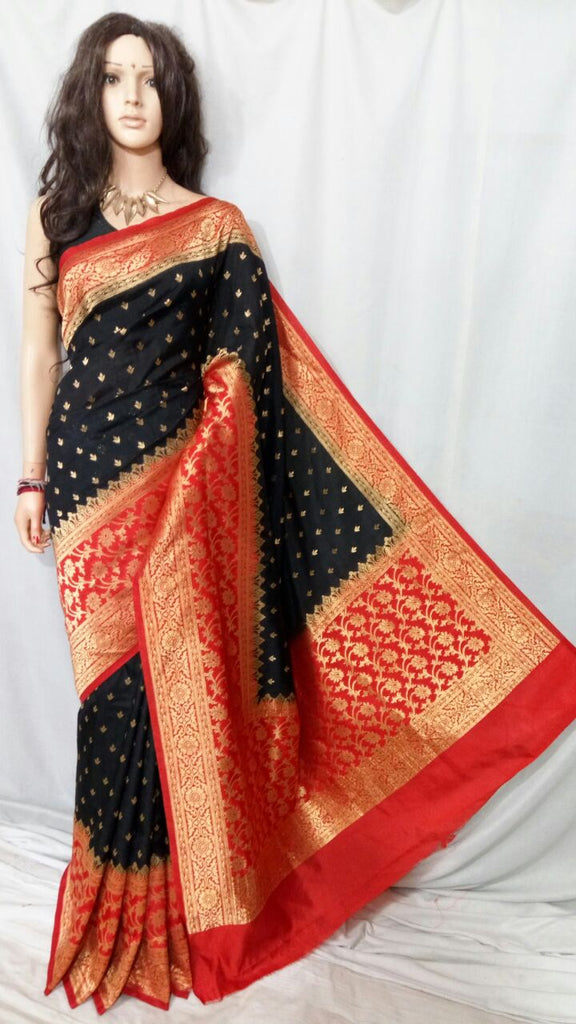 Black Red Maheshmati Silk Sarees