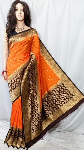 Orange Maheshmati Silk Sarees