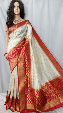 White Red Maheshmati Silk Sarees