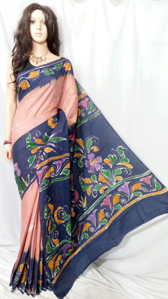 Beige Blue Batick Handloom Cotton Silk Sarees (Add to Cart Get 15% Extra Discount)