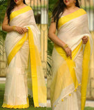 Yellow Cream Moklin Sarees