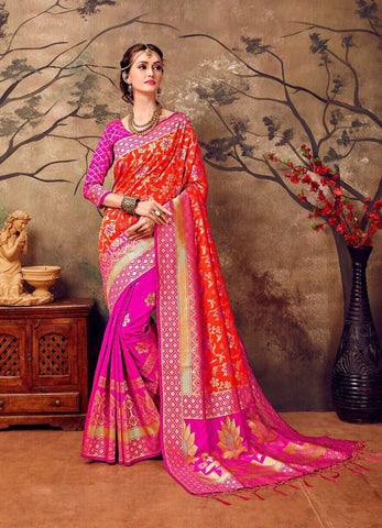 Pink and Golden Design Kanchivaram Silk Sarees