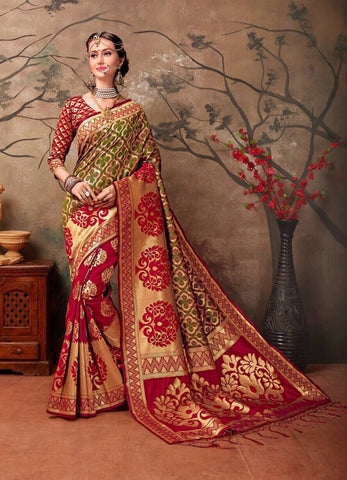 Red & Golden Kanchivaram Silk Sarees