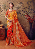 Orange and Golden Design Kanchivaram Silk Sarees