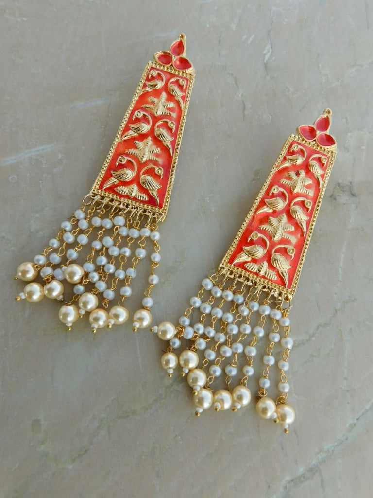 Orange Moti Earrings