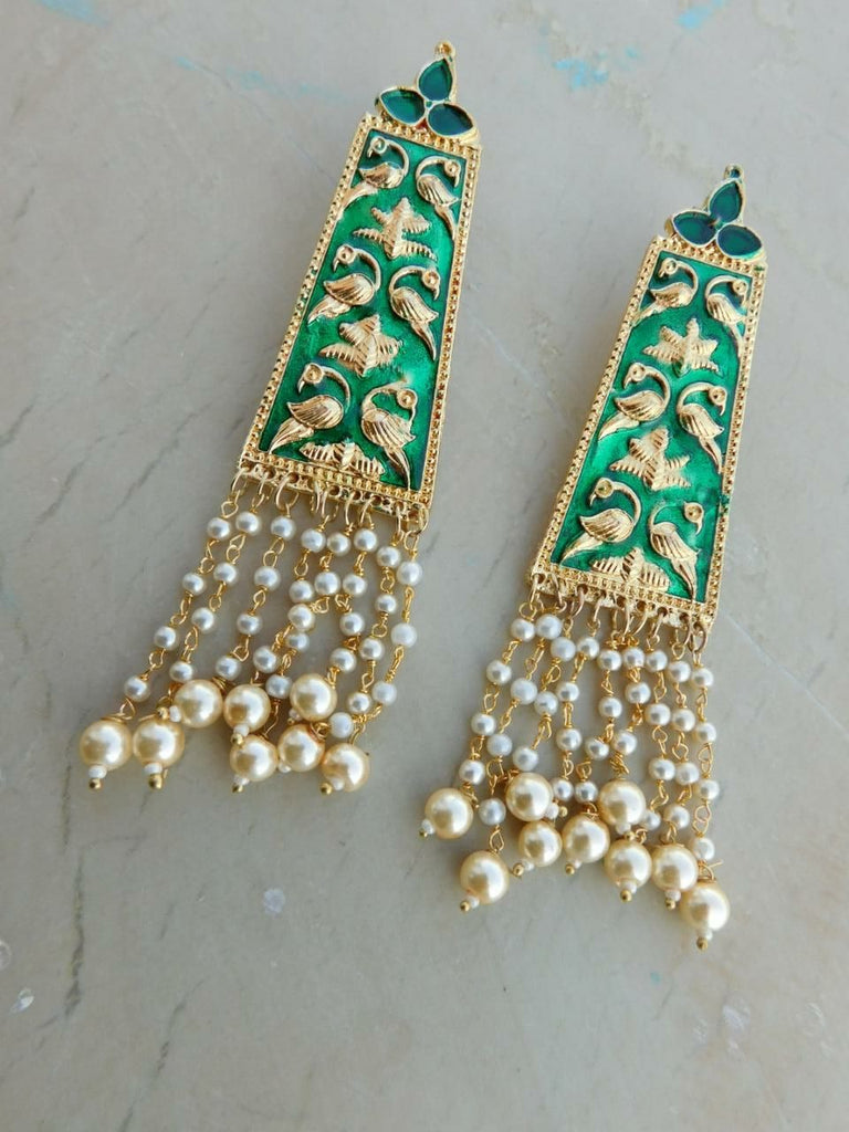 Green Moti Earrings