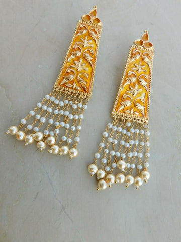 Yellow Moti Earrings