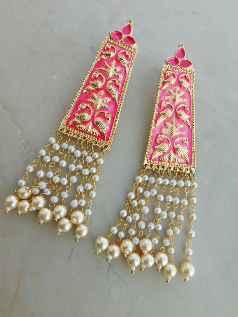 Pink Moti Earrings