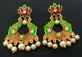 Green Kundan Meena Earrings
