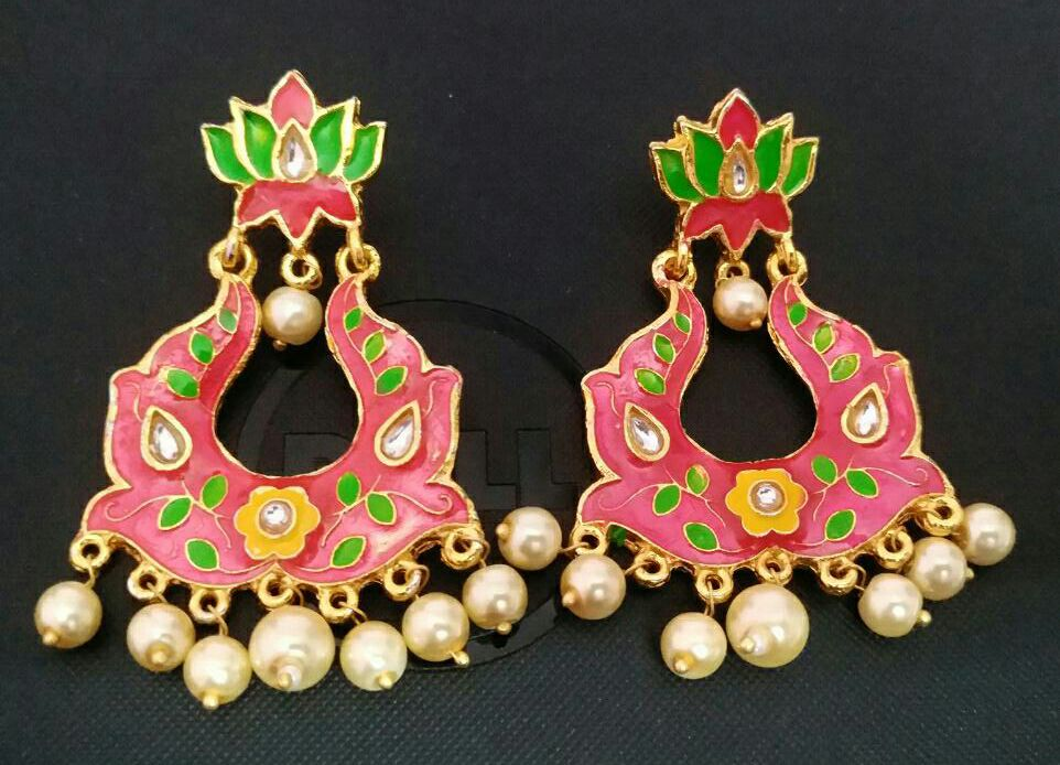 Pink Kundan Meena Earrings