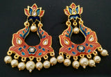 Orange Kundan Meena Earrings