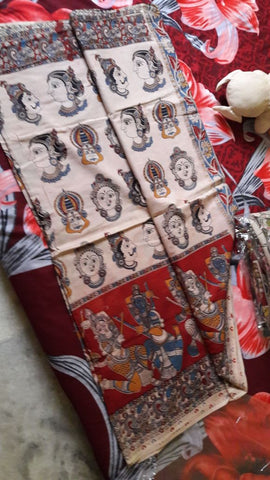 White & Red Kalamkari Sarees