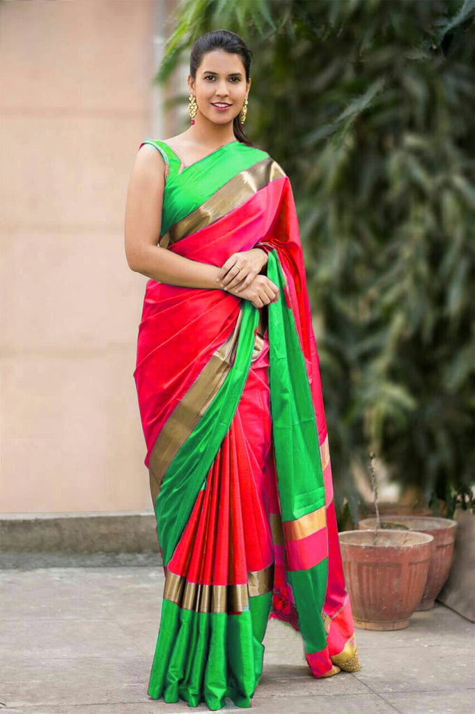 Red Green Cotton Silk Sarees