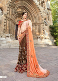 Brown Orange Party Wear Sarees