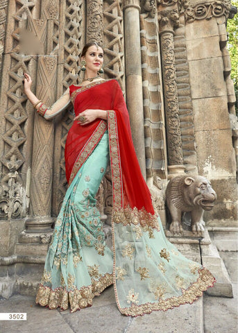 Red Blue Party Wear Sarees