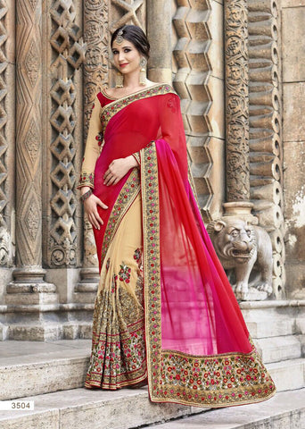 Red Beige Party Wear Sarees