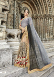 Grey Beige Party Wear Sarees