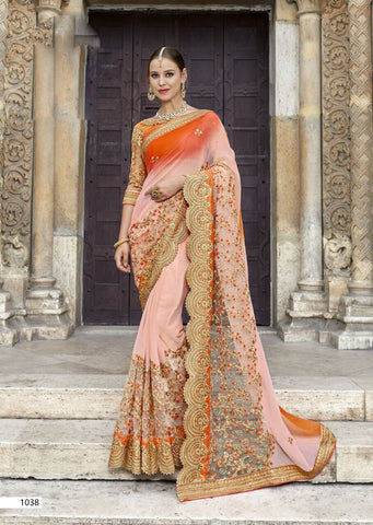 Pink Orange Party Wear Sarees