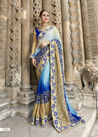 Blue White Party Wear Sarees