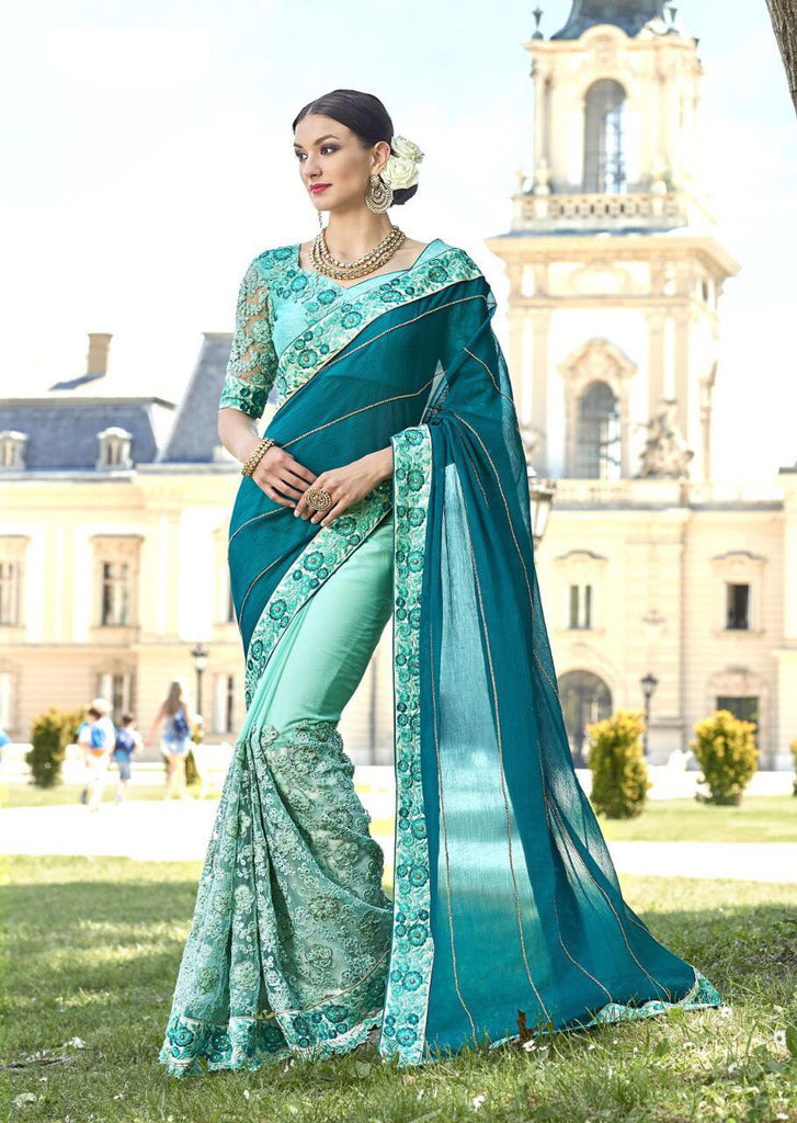 Green White Party Wear Sarees